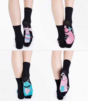 4 Pack Black Underfoot Monster Pattern Socks New Look