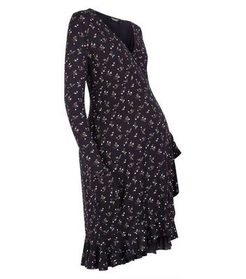 Maternity Black Ditsy Floral Print Wrap Dress New Look