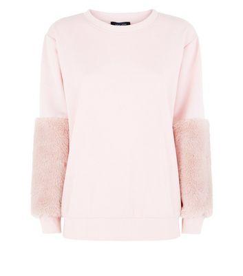Pink Faux Fur Sleeve Sweatshirt New Look
