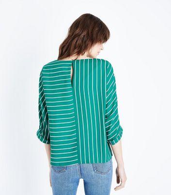 Green Contrast Stripe Top New Look