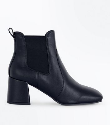 Black Square Toe Block Heel Chelsea Boots New Look