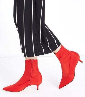 Red Satin Kitten Heel Sock Boots New Look