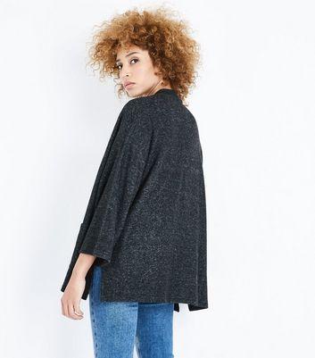 Dark Grey Brushed Knit Kimono New Look