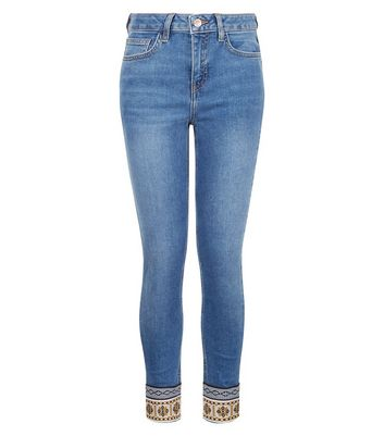 Teens Blue Aztec Tape Hem Jeans New Look