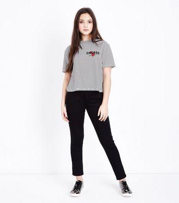 Black Chicago Slogan Embroidered Stripe T-Shirt New Look