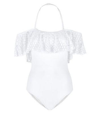 Teens White Crochet Trim Bardot Neck Swimsuit New Look