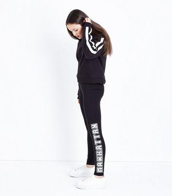 Teens Black Manhattan Metallic Slogan Leggings New Look