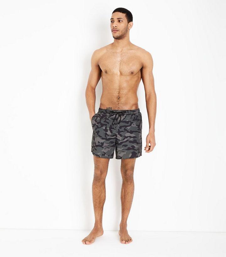 adde340b33 Khaki Camo Swim Shorts   New Look