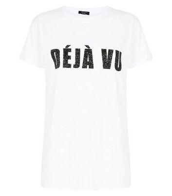 Petite White Deja Vu Glitter Slogan T-Shirt New Look