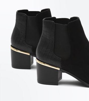 Wide Fit Black Comfort Flex Suedette Heeled Chelsea Boots New Look