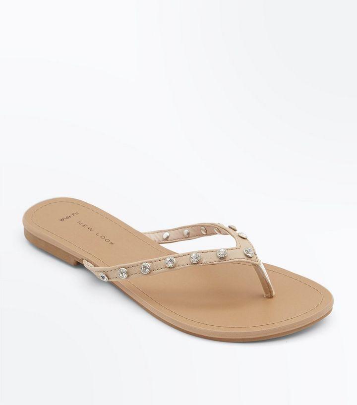 43801fd979b4 Wide Fit Nude Gem Embellished Flip Flops