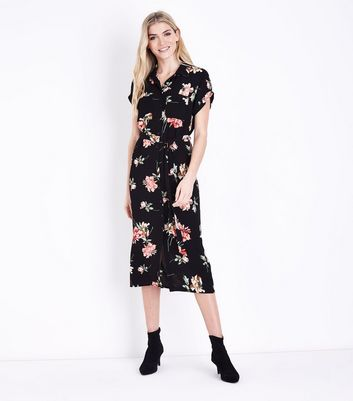 Black Floral Short Sleeve Midi Shirt Dress New Look