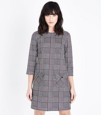Black Check Long Sleeve Tunic Dress New Look