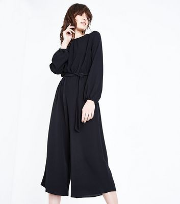 Black Belted Culotte Jumpsuit New Look