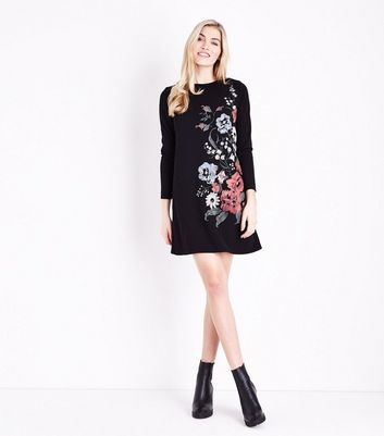 Black Floral Puff Print Tunic Dress New Look