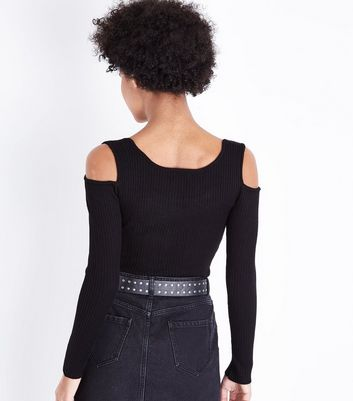 Apricot Black Cold Shoulder Ribbed Jumper New Look