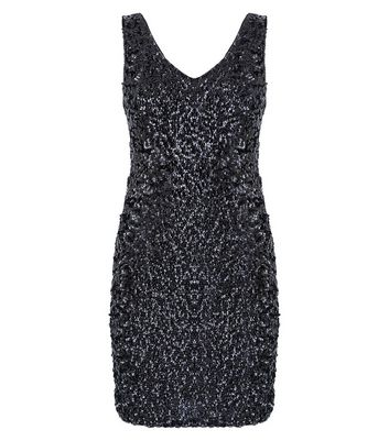 Apricot Black Sequin V Neck Bodycon Dress New Look