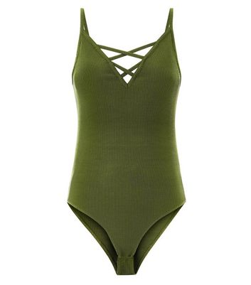 Khaki Ribbed Lattice Front Bodysuit New Look