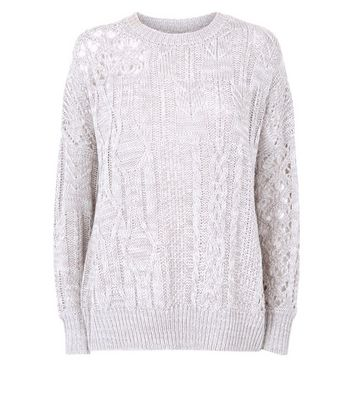 Grey Pointelle Cable Knit Jumper New Look