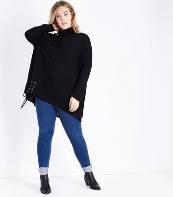 Blue Vanilla Curves Black Cowl Neck Top New Look