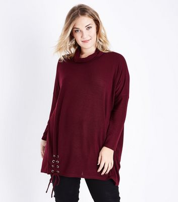 Blue Vanilla Curves Dark Red Cowl Neck Top New Look