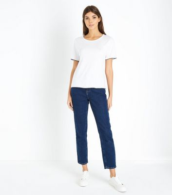 White Contrast Scallop Trim T-Shirt New Look
