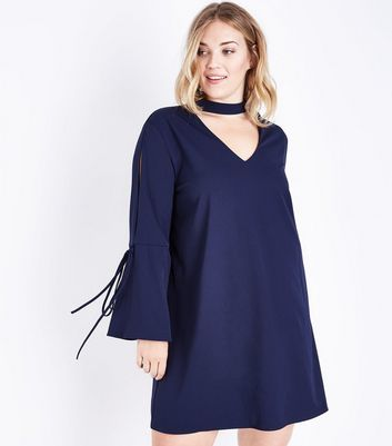 Blue Vanilla Curves Navy Choker Bell Sleeve Dress New Look