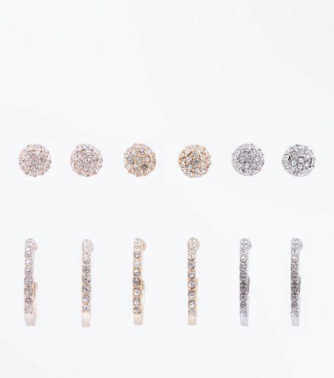 6 Pack Metallic Diamanté Hoop And Stud Earrings