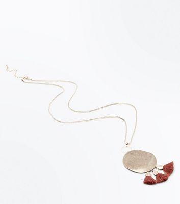 Gold Disc Tassel Drop Pendant Necklace New Look