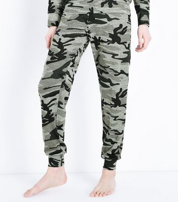 Green Camo Print Pyjama Joggers New Look