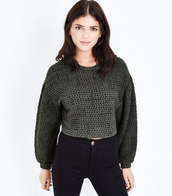 Khaki Boucle Stripe Batwing Sleeve Crop Top New Look