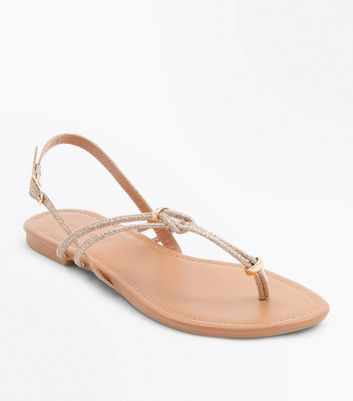 Gold Glitter Metal Trim Flat Sandals