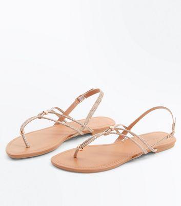 Gold Glitter Metal Detail Toe Post Sandals New Look