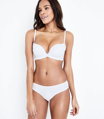 White Lace Trim Microfibre Bra New Look