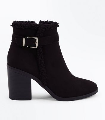 Black Suedette Faux Shearling Lined Heeled Boots New Look