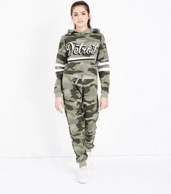 Teens Khaki Camo Joggers New Look