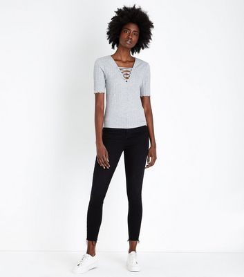 Tall Grey Lace-Up Neck T-Shirt New Look