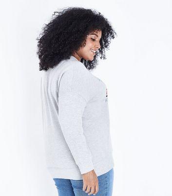 Curves Grey Luxe Metallic Print Sweatshirt New Look