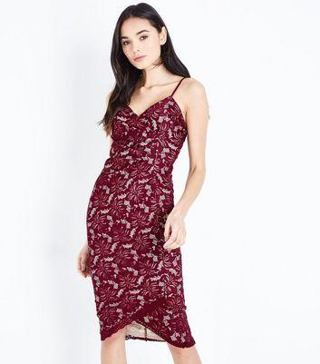 AX Paris Burgundy Lace Wrap Front Midi Dress New Look