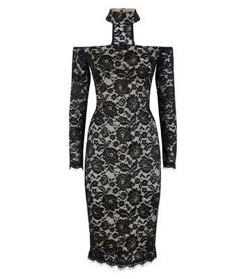 AX Paris Black Lace High Neck Midi Dress New Look