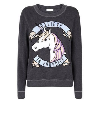 Petite Dark Grey Believe In Yourself Unicorn Sweatshirt New Look
