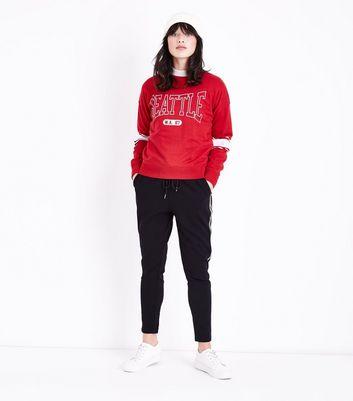 Red Seattle Print Stripe Sleeve Sweatshirt New Look