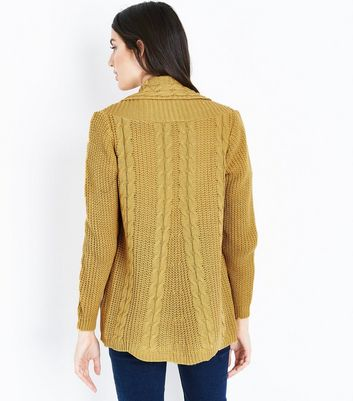Cameo Rose Yellow Cable Knit Cardigan New Look