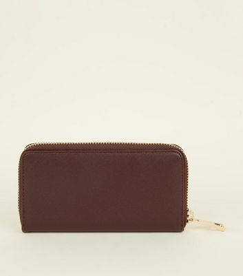 Burgundy Leather-Look Zip Around Purse