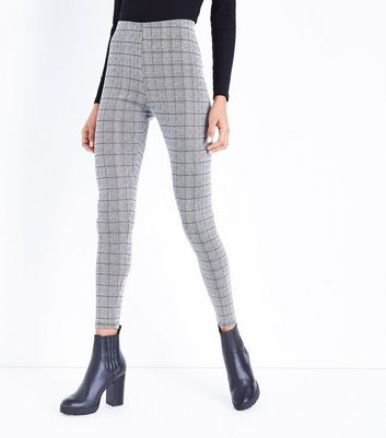 Cameo Rose Grey Prince of Wales Check Leggings New Look