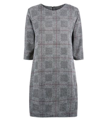 Cameo Rose Light Grey Prince of Wales Check Tunic Dress New Look