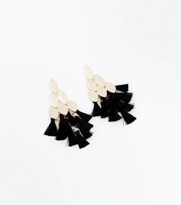 Black Triangle Tassel Drop Earrings New Look