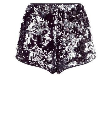 Parisian Black Sequin High Waist Shorts New Look
