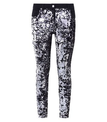 Parisian Black 2 Tone Sequin Embellished Jeans New Look
