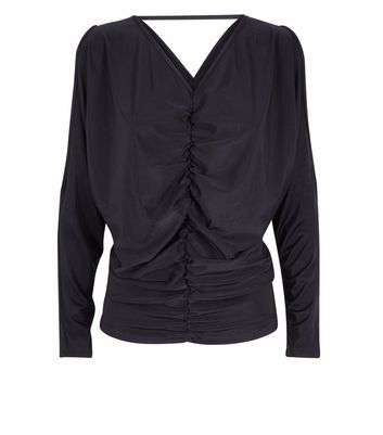AX Paris Black Cold Shoulder Ruched Front Top New Look